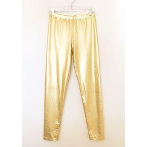 """FOREVER 21 """" ROLLER GIRL"""" Gold Leggings"""